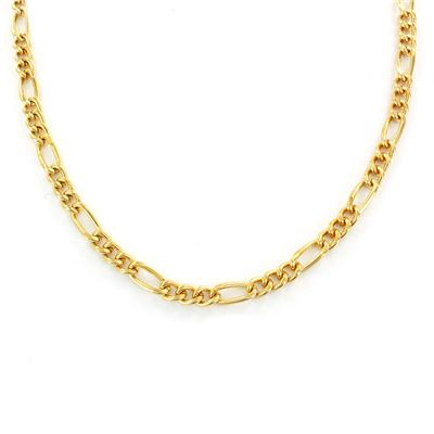 """24"""" 14kt Gold Plated Brass Figaro Chain Necklace"""