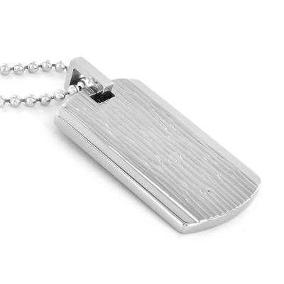 Stainless Steel Wood Grain Dog Tag on a 24 Inch Ball Chain