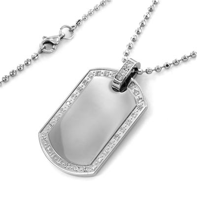Polished Stainless Steel Dog Tag with CZs on a 20 Inch Chain