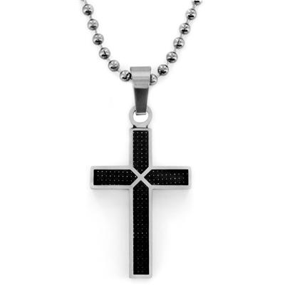 Stainless Steel Cross with Black Carbon Fiber on a 24 Inch Chain