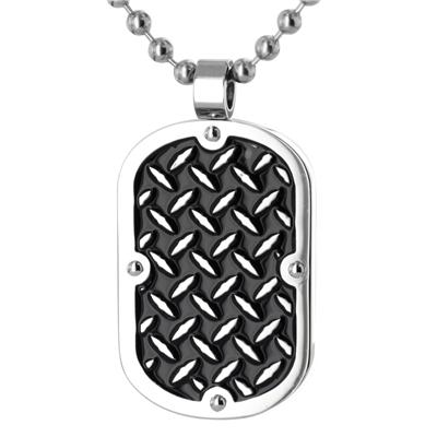 Stainless Steel Dog Tag with Black Inlay and Chain Link Design on a 24 Inch Chain