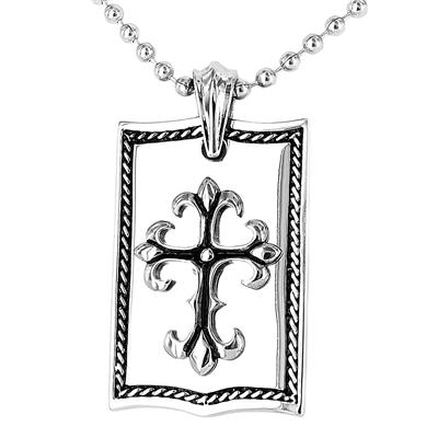 Polished Stainless Steel Dog Tag with Cross on a 24 Inch Chain