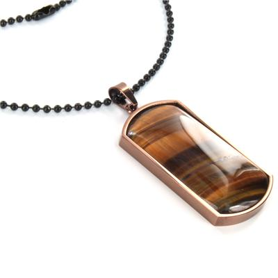 Stainless Steel Tigers Eye Domed Dog Tag on a 24 Inch Ball Chain