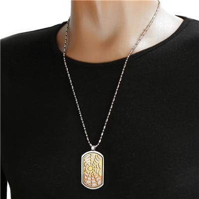 Stainless Steel 2 Layer Dog Tag with Bronze Plated Web Design on a 24 Inch Chain