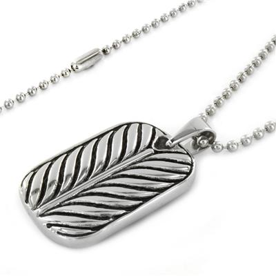 Polished Stainless Steel Leaf Design Dog Tag Pendant Necklace