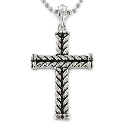 Stainless Steel Antiqued Braided Cross Pendant