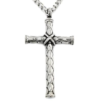 Stainless Steel Cross with Wrap Pendant