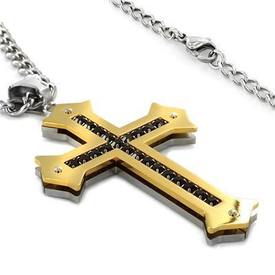 Stainless Steel Mens Cubic Zirconia Cross Necklace - Goldtone