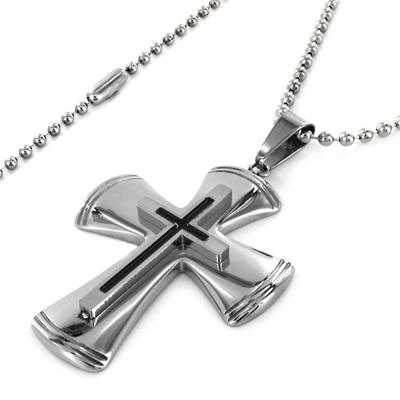Two-tone Stainless Steel Layered Cross Necklace - White