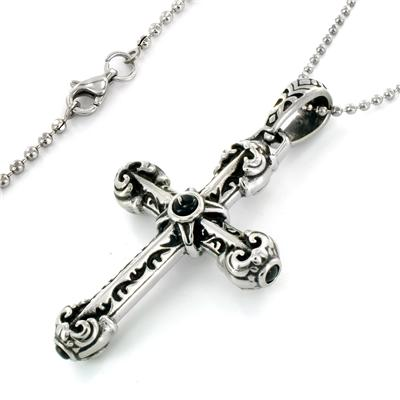 Stainless Steel Rounded Cross with Black Center Necklace