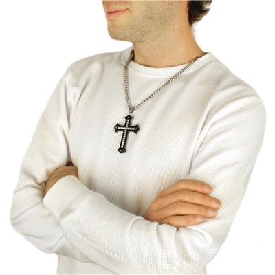 Black Plated Stainless Steel Cross with Cubic Zirconias Pendant