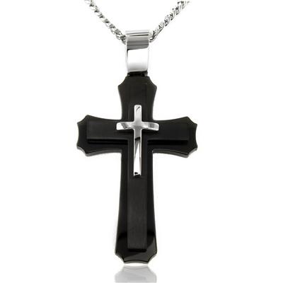 """Black Plated Stainless Steel Layered Cross on 24"""" Curb Chain"""