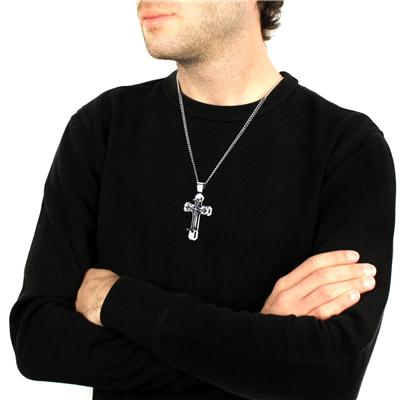 Stainless Steel Mens Large Cross Pendant with 24 Inch Curb Chain