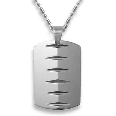 Tungsten Carbide Dog Tag with Knife-edge Laser Cut Design on a 24 Inch Chain