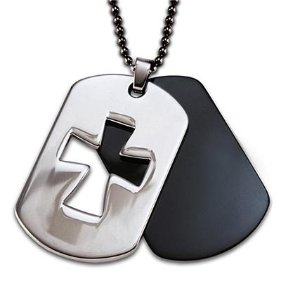 Stainless Steel 2-Piece Black Plated Cutout Cross Dog Tag on a 24 Inch Chain