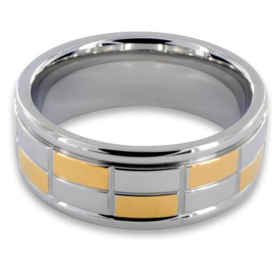 316L Stainless Steel Rings/IP Gold and Steel Squares