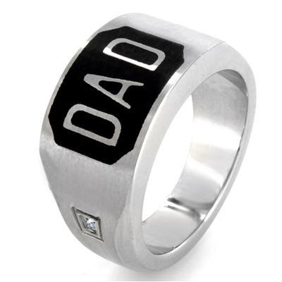 Stainless Steel Black Enamel Cubic Zirconias Dad Ring