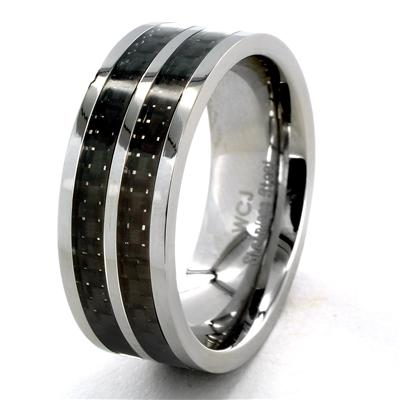 Stainless Steel Black Striped Carbon Fiber Inlay Ring