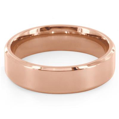 Pink Gold IP Over Stainless Steel Beveled Edge Flat Band Ring