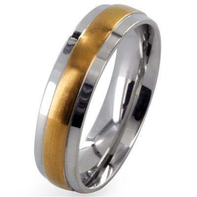 Stainless Steel 2-Tone Gold IP Center Grooved Band Ring