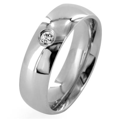 316L Stainless Steel Single CZ 6mm Wide Classic Band Ring