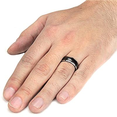Black Plated Stainless Steel Ring with Grooved Lines (7.9 mm)