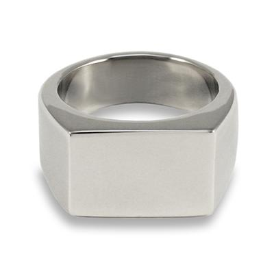 Stainless Steel Polished Engraveable Rectangle Signet Ring