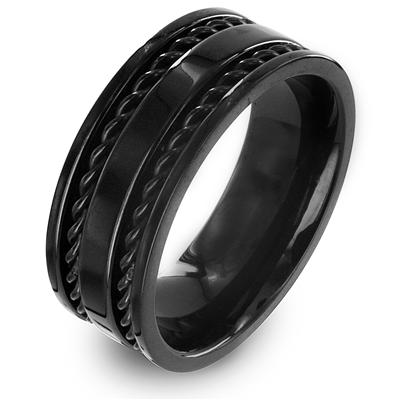 Stainless Steel Black Ring with Double Cut-Out Twisted Rope Inlay