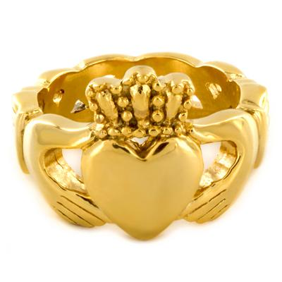 Gold Stainless Steel Claddagh Ring with Celtic Knot Eternity Design (6mm)