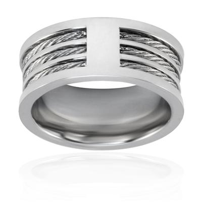 Stainless Steel Ring with 3 Rows of Cable Inlay