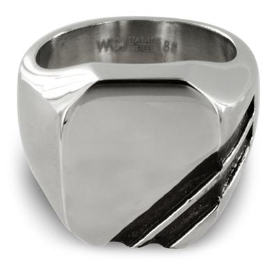 Polished Stainless Steel with Double Black Stripe Ring