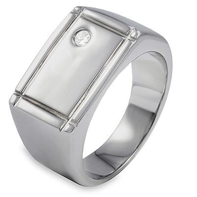 Stainless Steel Ridged Edge Single Cubic Zirconia Ring