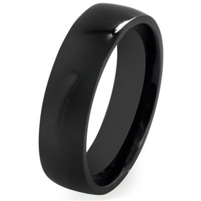 Black IP Solid Titanium 6mm Wide Glossy Mirror Polished Traditional Wedding Band Ring