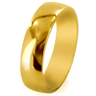 Gold IP Solid Titanium 6mm Wide Glossy Mirror Polished Traditional Wedding Band Ring