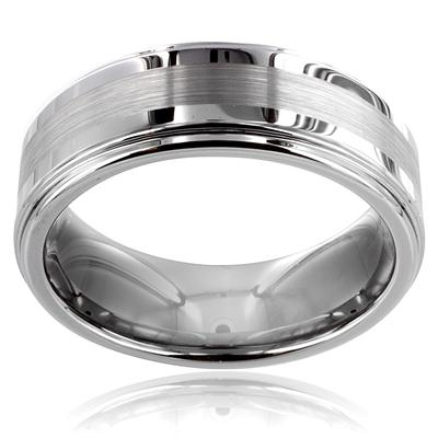Tungsten Carbide Ring with Matte Finish Center