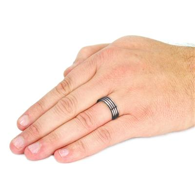 Tungsten Carbide Triple Black Stripes Band Ring