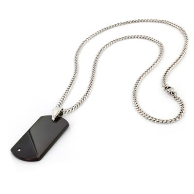 Black Plated Tungsten Carbide Diamond Dog Tag on 24 Inch Curb Chain (Engraveable)