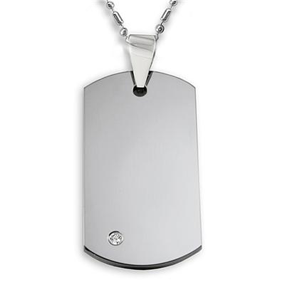High Polished Tungsten Carbide CZ Dog Tag on 24 Inch Ball Chain (Engraveable)