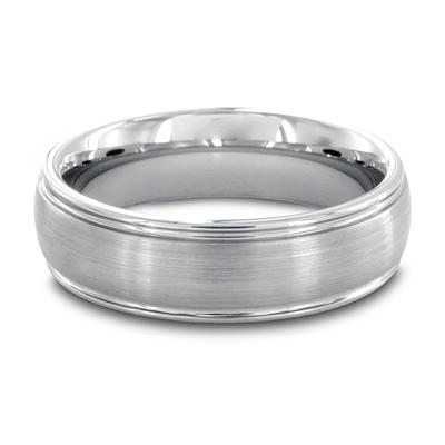 Grooved Brushed and Polished Tungsten Carbide Ring (6.5 mm)
