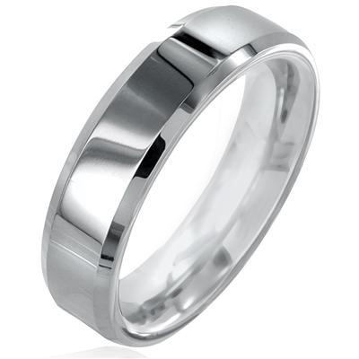 Polished Beveled Edge Tungsten Carbide Ring (6mm)
