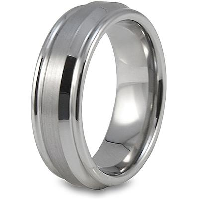 Grooved Brushed and Polished Tungsten Carbide Ring