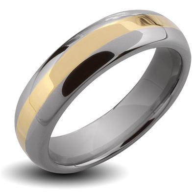 Tungsten Carbide Gold IP Stripe Band Ring
