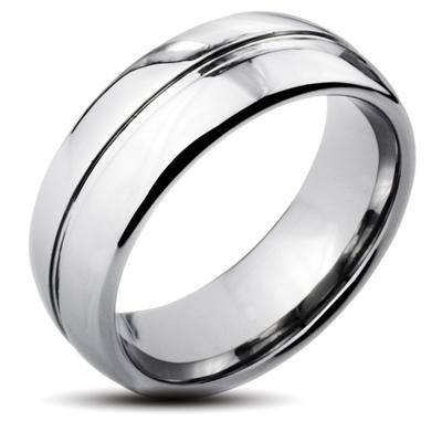 Tungsten Carbide Ring with Rounded Edge and Grooved Center