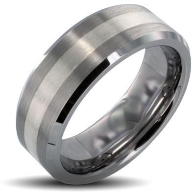 Tungsten Carbide Silver Stripe Inlay Beveled Edge Band Ring