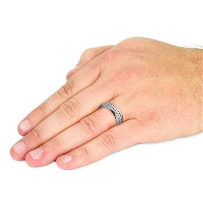Tungsten Carbide Silver Rope Inlay Band Ring