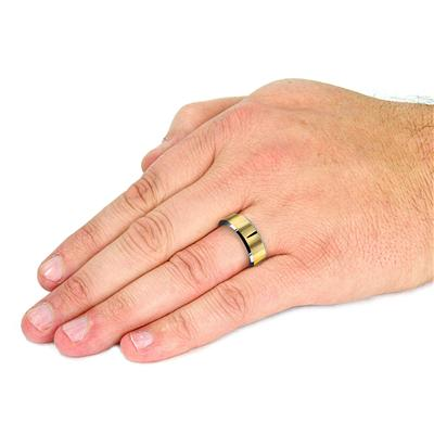 Tungsten Carbide Ring With PVD Gold Band