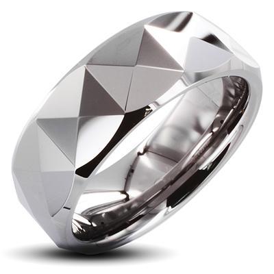 Tungsten Carbide Ring With Triagular Prism Design