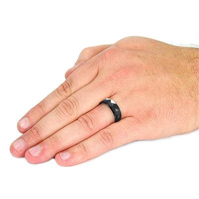 PVD Black Tungsten Carbide Ring With Triagular Prism Cut Design