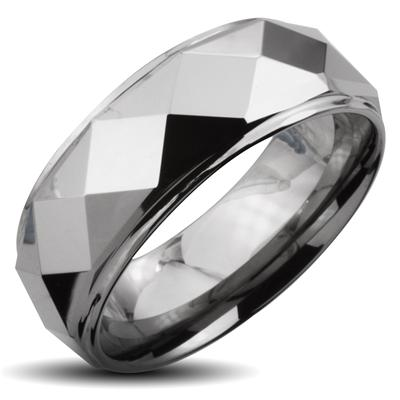 Tungsten Carbide Faceted Ring With Drop Down Edges