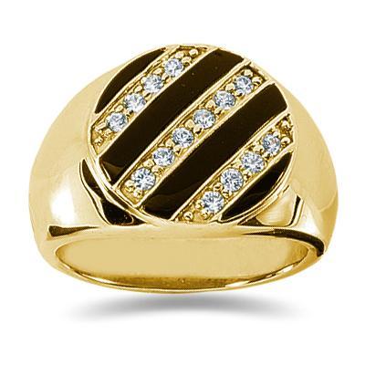 0.35 CTW Mens Diamond Ring in 14K Yellow Gold